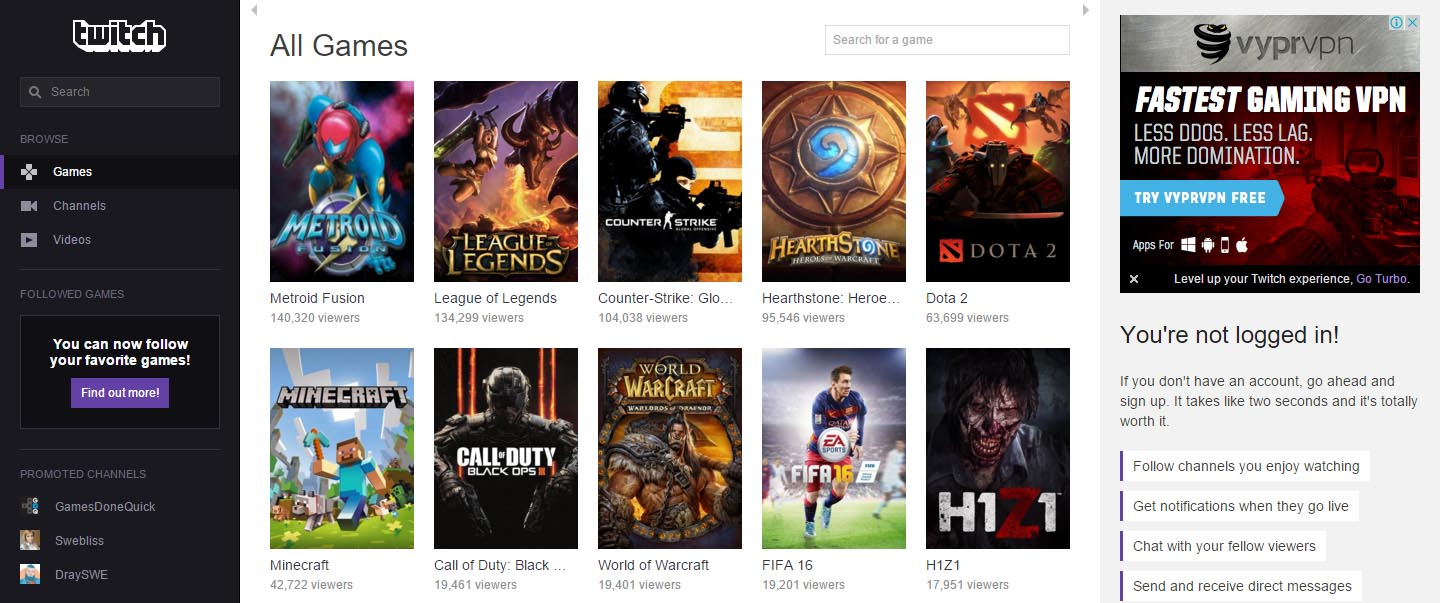 Twitch Games Categories