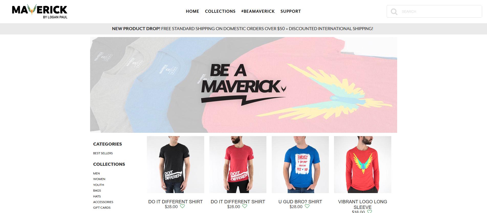 Logan paul brand Maverick website