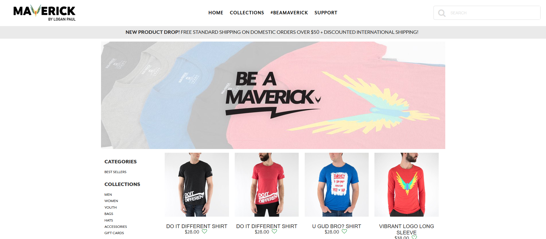 Logan paul brand Maverick website