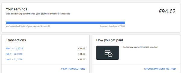 Google adsense payment method and threshold