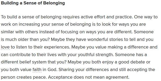 building a sense of belonging