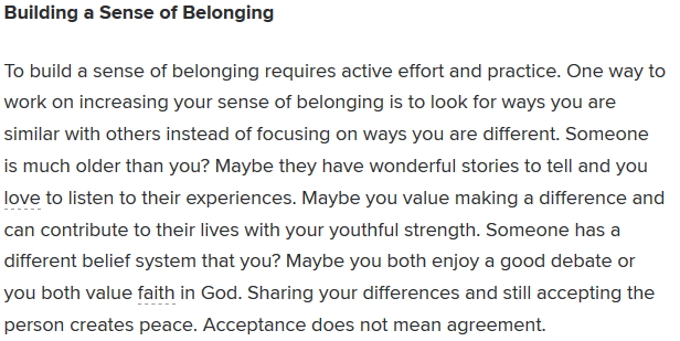 building a sense of belonging