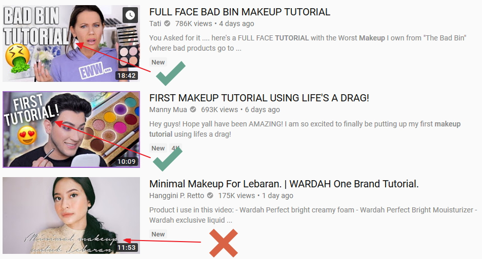good and bad youtube thumbnail examples