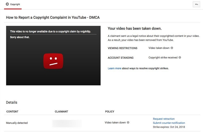 youtube copyright takedown