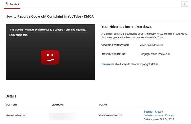 youtube copyright takedown