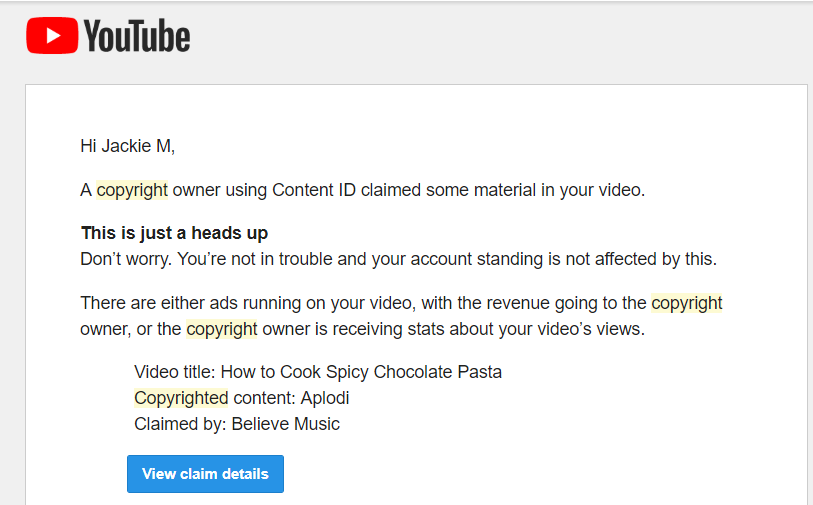 youtube content id claim