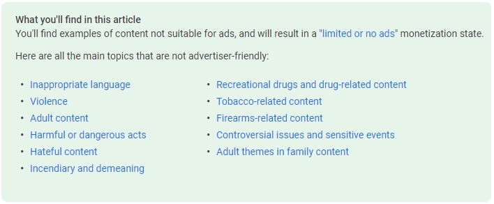 list of subjects that can get your youtube videos demonetized