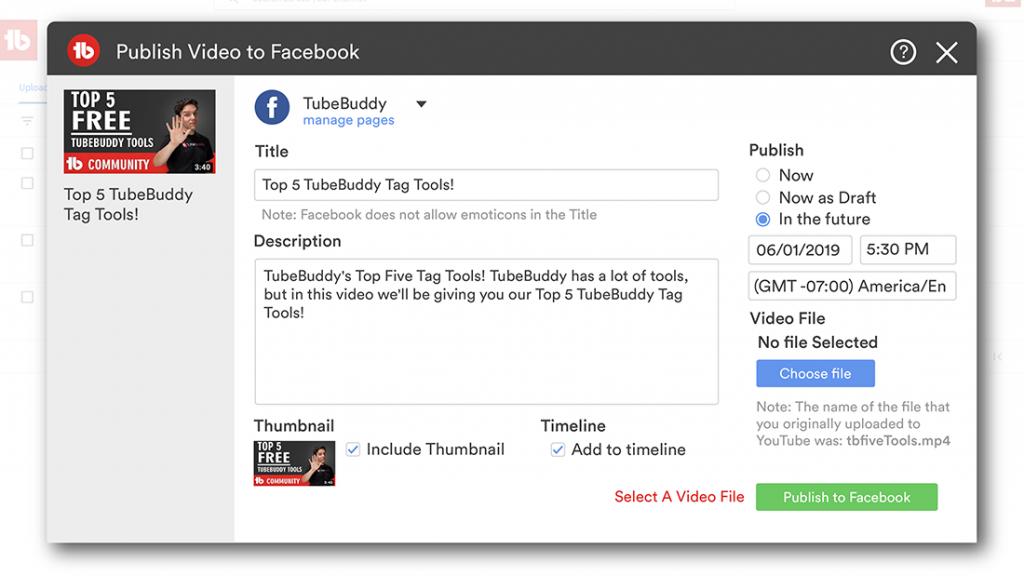 publishtofacebook tubebuddy