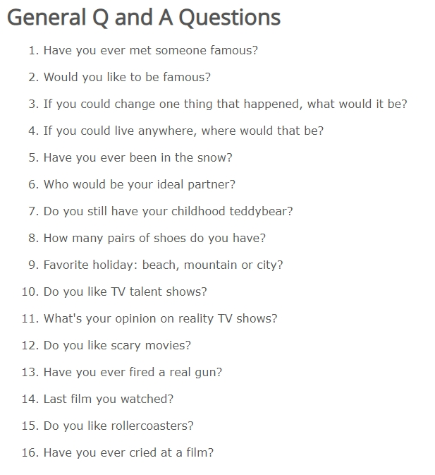 list of q&A questions