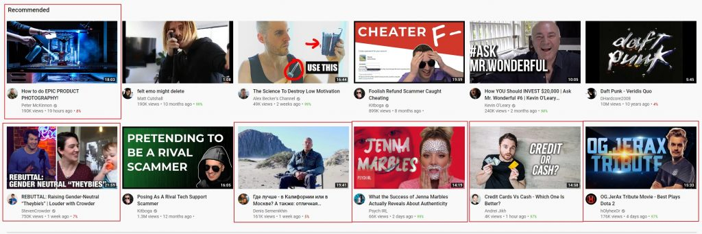 youtube home page showing mostly new videos