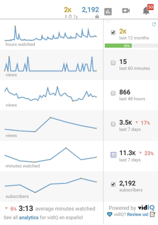 vidiq real-time stats