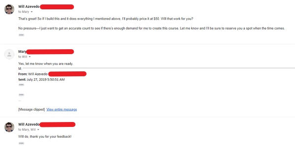 product confirming idea emails