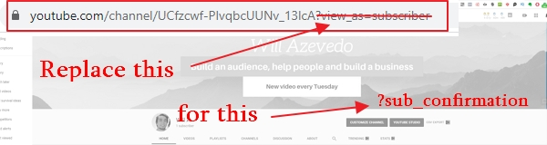 how to create a subscription link for youtube channel