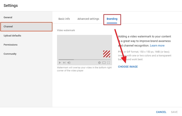 youtube channel watermark option