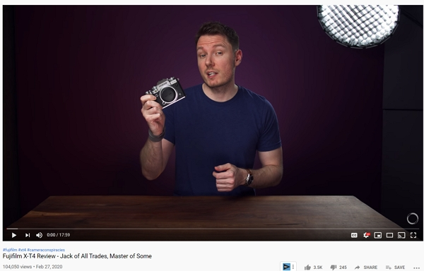 camera being reviewed on youtube